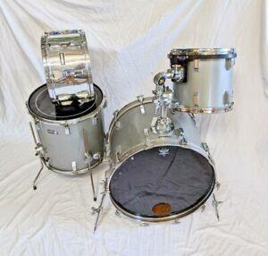 Vintage 1980's Remo Acousticon 4-Piece PowerSnap Drum Kit in Grey Quadura Finish