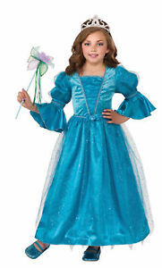 Water Lily Princess Costume Fancy Dress Gown Deep Aqua Blue Hoop Girls Child