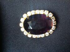 purple with clear stones Vintage Oval Brooch dark