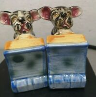 Vintage Puppy Dogs  Bookends Pair ceramic Japan Some crazing