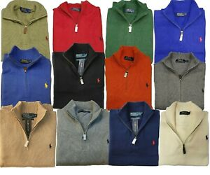 *NEW - POLO RALPH LAUREN MENS 1/2 ZIP COTTON SWEATER - Assorted Colors & Sizes