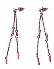 RETRO SUMMER INSPIRED LONG LAYERED BRONZE EARRINGS RED STONES UNIQUE (ZX14)