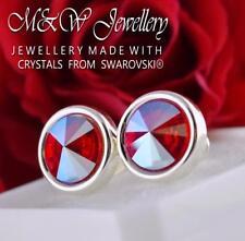 925 Silver Stud Earrings Crystals From Swarovski® RIVOLI Light Siam Shimmer
