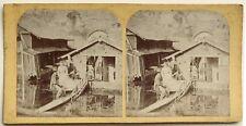 Maisons au bord de l'eau Photographie Stereo Vintage Albumine c1865