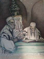 saul rabino solemn prayers siged lithograph good condition and framed