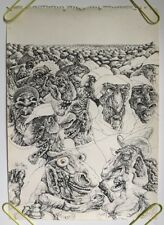 original vintage Felt Tip Marker Art Psychedelic Trippy Crowd Men Drawing Pin-Up