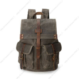 Retro Oil Wax Canvas Outdoor Sports Travel Bag Backpack Rucksack Daypack Men New