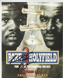 Riddick Bowe autographed 8x10 color fight photo vs Evander Holyfield