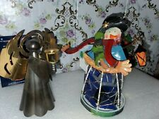 Snowman Christmas Tin Tealight Votive Candle Holder, And Cooper/Brass Angel