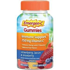 Emergen-C Immune Support 750mg Vitamin C - 45 Gummies Strawberry Lemon Blueberry