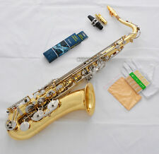 Professioanl Gold Silver Tenor Saxophone Bb High F# Sax Extra Metal Mouthpiece