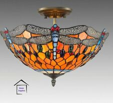 DRAGON TIFFANY STYLE STAINED GLASS CEILING LIGHT ( STUNNING QUALITY )