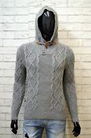 BLAUER Maglione Uomo Pullover Taglia S Slim Sweater Cardigan Lana Felpa Grigio