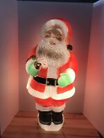"Vintage Christmas 31"" Poloron Lighted Blow Mold Santa Claus Yard Decoration"