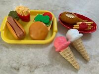 Fisher Price Fun with Food Cheeseburger Hot Dog Chicken Fries Play Lunch Set Lot