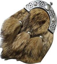 St Écossais Kilt Sporran Costume Complet Cuir Habillé Fourrure de Renard