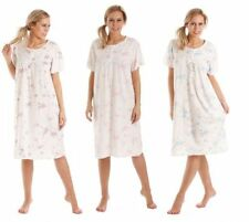Ladies Floral Short Sleeve Jersey Cotton Rich Nightie Nightdress Nightshirt 0104