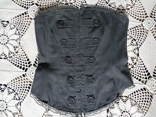 Bebe grey herringbone steampunk burlesque button front lace up corset bustier M