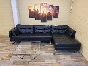 Dwell Plush Black Leather Corner Sofa