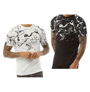 Mens Fluid Cotton Stylish Marble Design Short Sleeve T Shirt Sizes from S to XXL