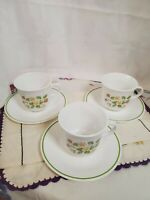Corelle Strawberry Sunday Cups & Saucers.  Set Of 3
