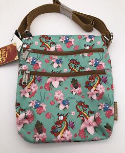 Loungefly Disney Mulan Floral Mushu Cri-Kee Crossbody Purse Passport Bag