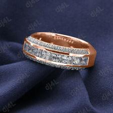 Men's Wedding Engagement Ring 10K SOLID Rose Gold Princess Round Cut Diamond