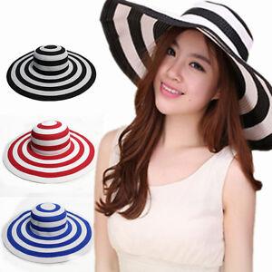 Ladies Women Large Brim Beach Hat Wide Straw Floppy Foldable Summer Sun Fashion