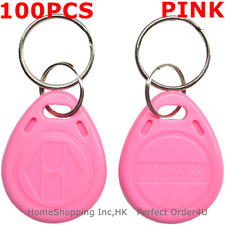 100pcs Pink 125Khz Rfid Keyfobs Em4100 Tk4100 Proximity Id keyfobs with Keychain