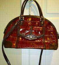 M.C. Marc Chantal Croc Embossed Brown Shoulder  Handbag w/ Silver Accents Mint