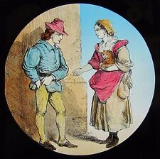 COLOUR Glass Magic Lantern Slide DICK WHITTINGTON NO3 C1890 VICTORIAN DRAWING