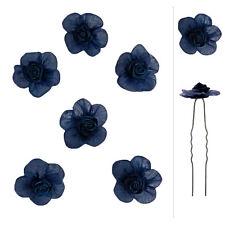 6 épingles cheveux mariage soirée gothique fleur bleu nuit satin organza