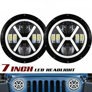 """7"""" Round LED Headlight Halo Angel Eyes For Ford E-100 E-150 E200 E250 Econoline"""