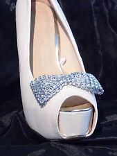 2 Silver Diamante Style Bow Clips for Shoes