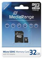 MediaRange Micro SDHC 32 GB Karte Speicherkarte mit SD Adapter Class 10