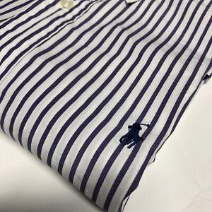 Polo Ralph Lauren Mens Classic  Long Sleeve Button Large Down Shirt White Purple