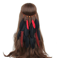 Black+Red Boho Feather Hairband Headdress Hippy Indian Feather Headband Festival