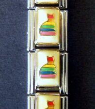 RAINBOW KITTY CAT GAY LGBT PRIDE ENAMEL ITALIAN MODULAR CHARM, 9mm, Single Link