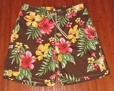 Polo Ralph Lauren Hawaiian Hibiscus Mens Board Shorts Mesh Brief Brown Floral-L