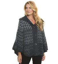 LADIES JEANETTE PONCHO BY LIZ JORDAN SIZE SMALL/MEDIUM CHARCOAL RRP $149.95
