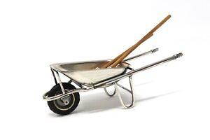 Great Vintage Solid Silver Novelty Gardeners Wheelbarrow Spade & Rake Miniature