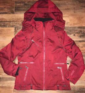 NILS Ski Jacket Women's Sz 14 Ski Jacket Red Designer studded Jacket Unique