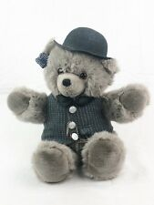 Vintage 1987 Grey Applause Teddy Bear Plush With Bow Tie, Bowler Hat And Vest