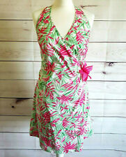 Tropical Dress Wrap Pink Halterneck floral Uk 14/16 races holiday party bbq