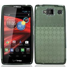 For Motorola DROID RAZR MAXX HD TPU CANDY Flexi Gel Skin Case Cover Smoke Plaid
