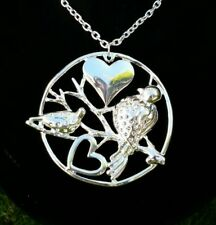 Silver Floral Birds Heart Necklace Chain Tree of Life Circle Pendant Rhinestones