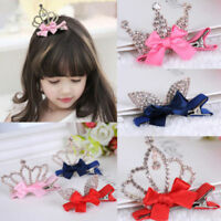 New Baby Girls Kids Children Shiny Crown Princess Rabbit Ears Crystal Hair Clips