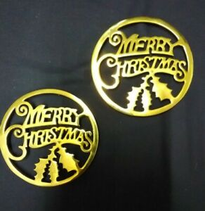 set of two brass merry Christmas trivets
