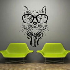 Wall Decal Cat Film Movie Decor Glasses Mustache Bow Cartoon Scientist M709
