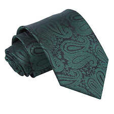 Emerald Green Mens Tie Woven Floral Paisley Classic Wedding Necktie by DQT